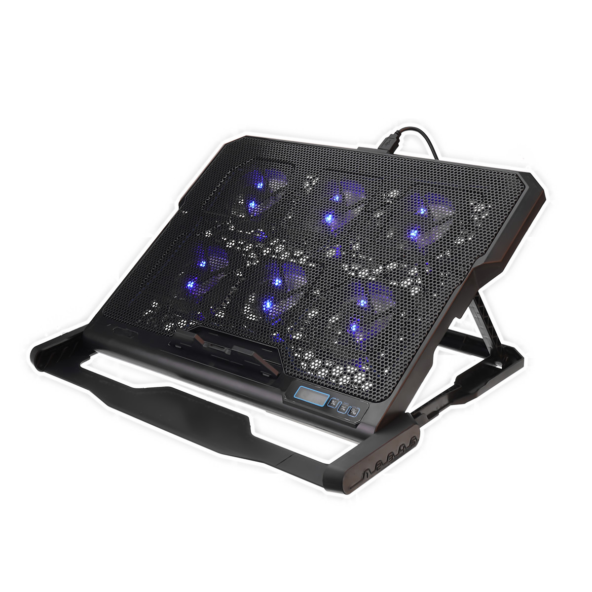 6 Fans LED 2 USB Port Laptop Cooling Pad Laptop Cooler Notebook Stand Notebook Cooling Pad Mat For 12-15.6 Inch Laptop cooling pad for laptop aluminum cooling laptop stand fan cooler 2 uab port base support 5 fans led for 12 15 15 6 17 inch