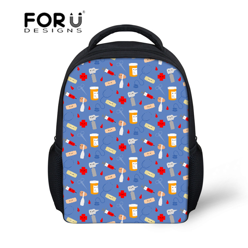 FORUDESIGNS School Bags Childrens Backpacks Happy Doctor Pattern Kids Backpacks Infant Satchel Schoolbag Students Book Bag 2018