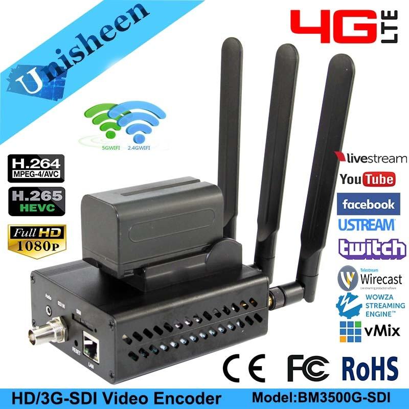 Unisheen 4G LTE H.264 H.265 Wifi SDI Rtmps Video Encoder 3G SDI Transmitter Ip Live Broadcast Encoder Wireless Youtube Facebook
