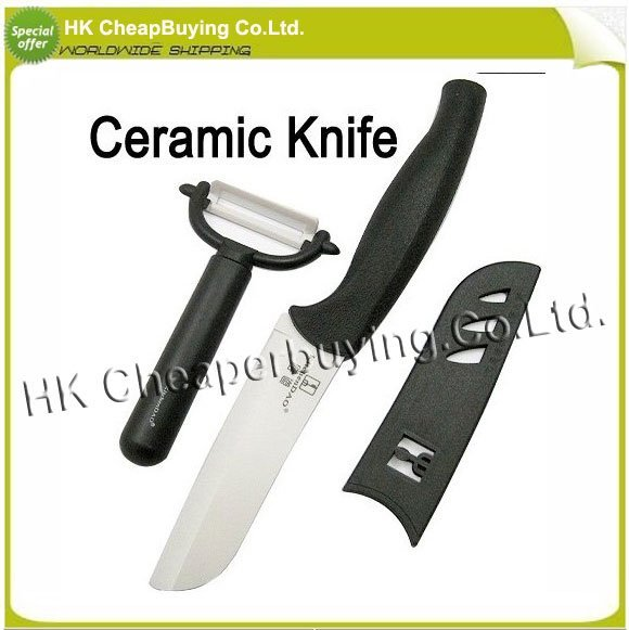 Free Shipping Kitchen Ceramic Knife Multi Functional Santoku Knife Ceramic Peeler, #SKU0377