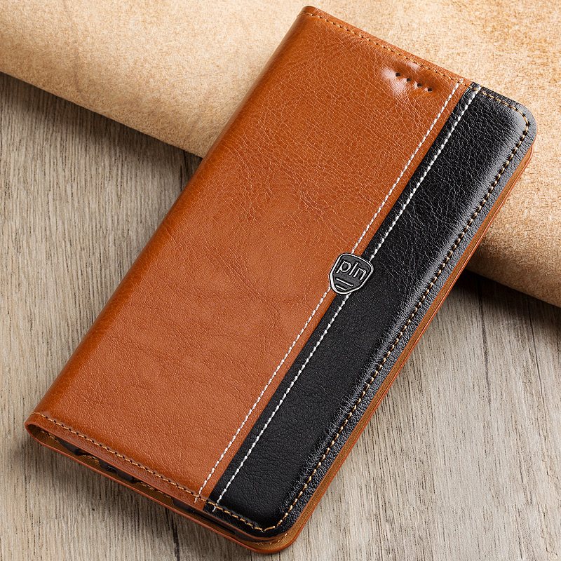 Fashion Stitching Color Cover Case For Motorola Google Nexus 6 Case Flip Stand Magnetic Genuine Leather Phone Cover Bag