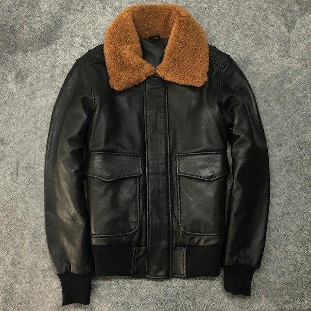 Phụ nữ mùa đông da cừu áo khoác da áo khoác Chic túi da chính hãng Len lông áo khoác D948