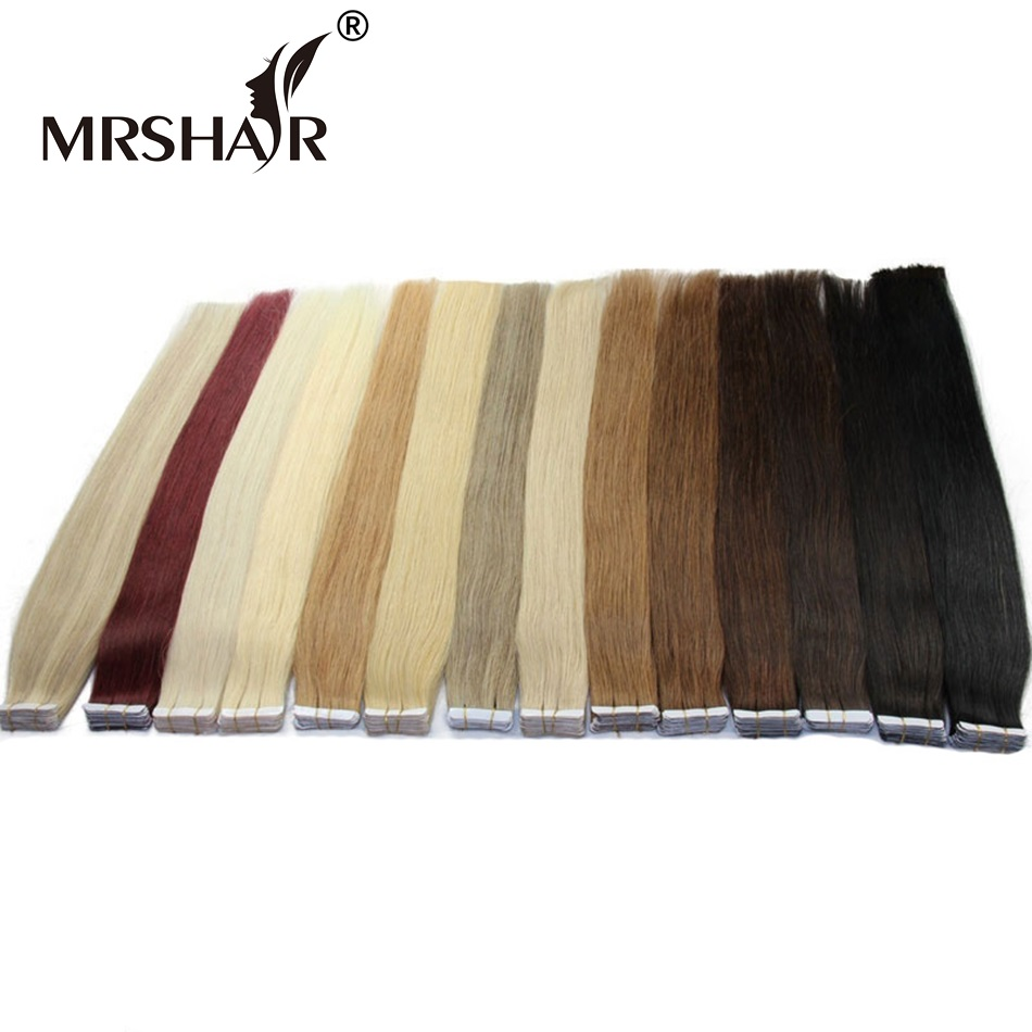 MRSHAIR Tape In Human Hair Extensions Non Remy 16 18 20 22 24 20pcs Straight Brazilian
