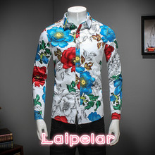 2018 New Men Shirt Brand Clothing Spring Slim Fit Casual Mens Long Sleeve Turn Down Collar Floral Blouse 5XL