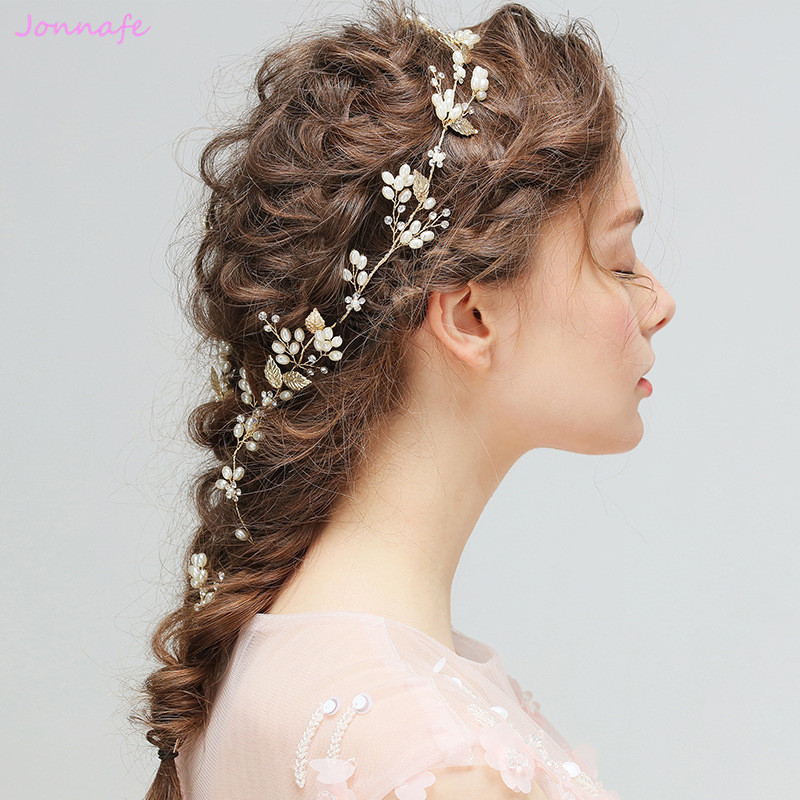 Jonnafe 2017 Gold Leaf Pearls Hair Vine Bridal Headband Fashion Wedding Hair Jewelry Accessories Women Headwear Tiara