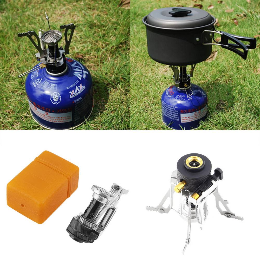 Hot Portable Outdoor Picnic Gas Foldable Camping Mini Steel Stove CaseDrop Shipping