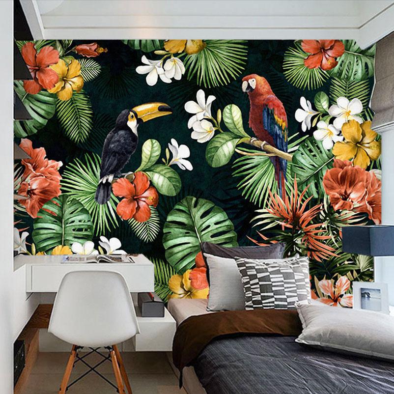 Custom mural wallpaper painting pastoral parrot tropical for Custom mural painting