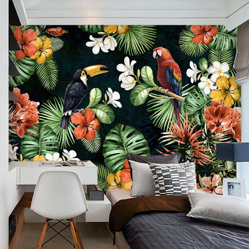 Custom Mural Wallpaper Painting Pastoral Parrot Tropical Rainforest Plant Cartoon Living Room TV ...