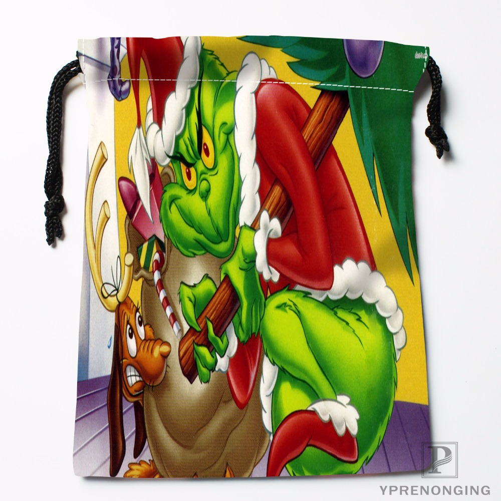 Custom Christmas Grinch Drawstring Bags Printing Travel Storage Mini Pouch Swim Hiking Toy Bag Size 18x22cm#180412-11-65