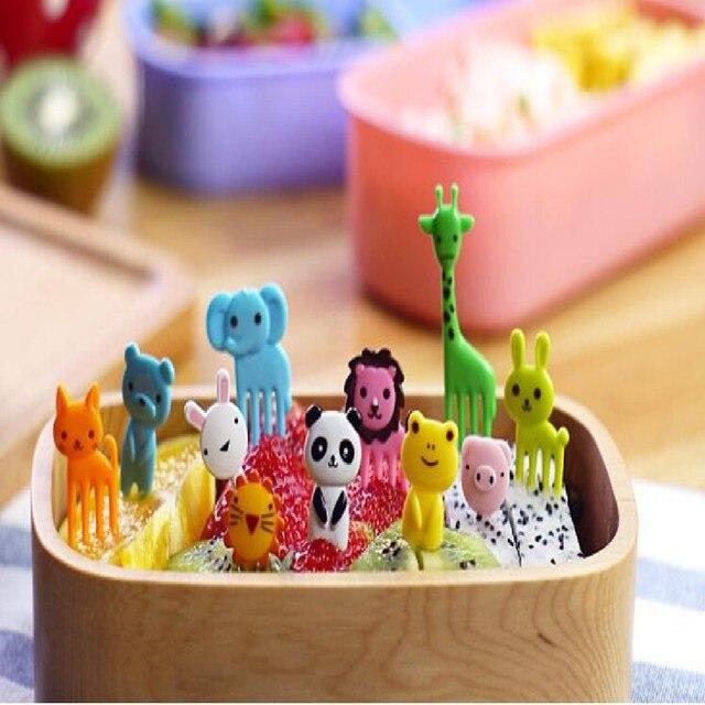 Nowy Przyjazd Mini Zwierząt Cartoon Znak Bento Żywności Widelec Owoce Pick Obiady Party Decor Stołowe Naczynia Warzyw 10 sztuk/zestaw