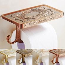 Zinc Alloy Bathroom Tissue Holder Rack Dispenser Vintage Wall Mounted Paper Roll Storage Shelf Toilet Phone Storage Stand