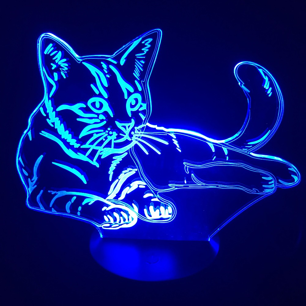 3D Vision Kitten LED Night Light 7 Colors Change Cute Lying Cat Desk illusion Lamp Bedroom Home Party Decor Gift