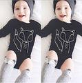 Infantil Bebê Recém-nascido Meninos Meninas Algodão Manga Comprida Fox Sunsuit Bodysuit Macacão Outfits Roupas