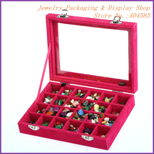 Glass lid fancy jewelry box with 24 compartments For jewelry stones