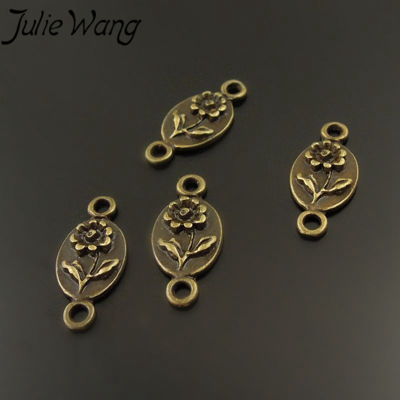 Julie Wang 200pcs/pack Zinc Alloy Ancient Cyan Oval Rose Shape Jewelry Accessories Connector Elegant Luxury Style Girlfriend image