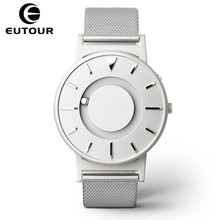 Купить с кэшбэком EUTOUR Women Watches Magnetic Ball Pointer Creative Ladies Watch Simple Fashion Pink Canvas Strap Wristwatches For Blind Person