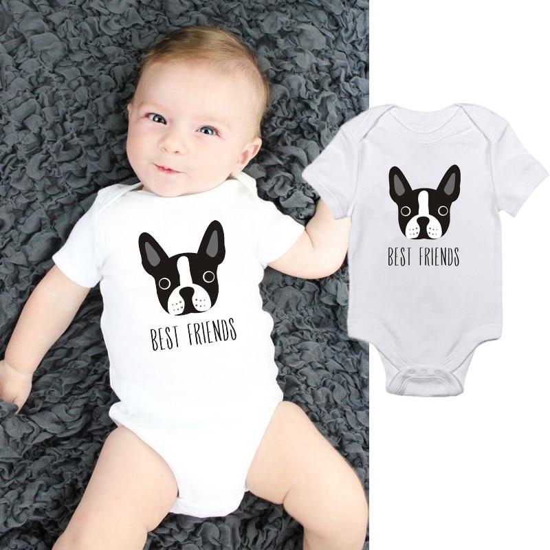 FOECBIR Puppy Pug Dog Infant Boys Girls Jumpsuit Short-Sleeve Romper Bodysuit