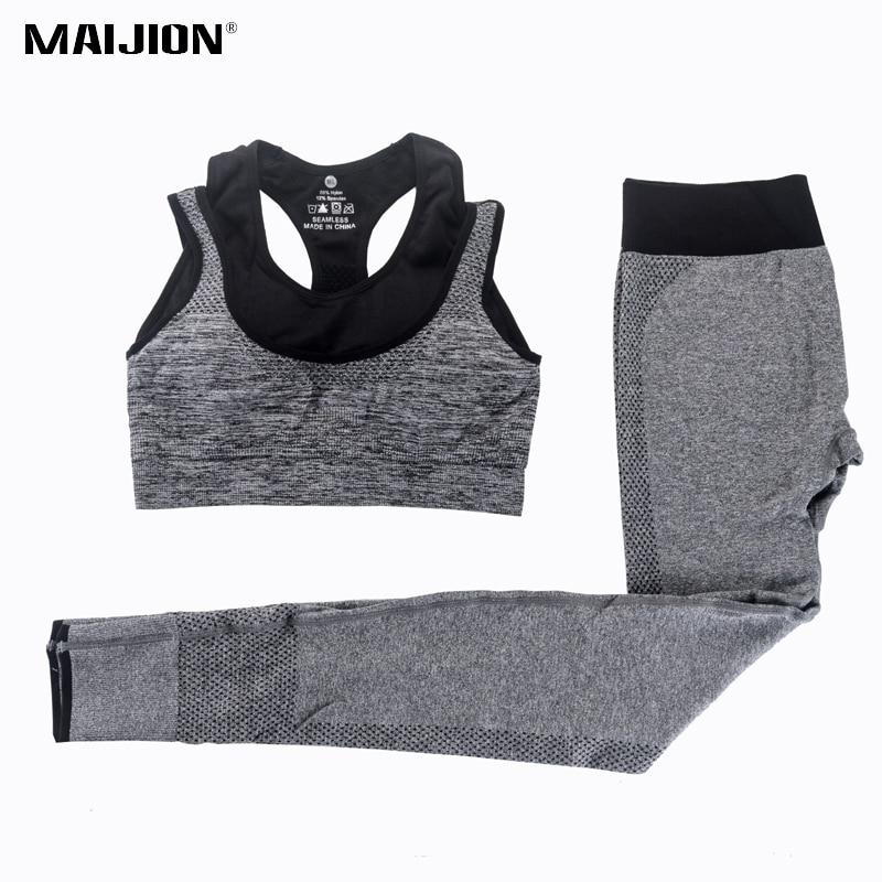 MAIJION 2Pcs Women Yoga Sets Fitness Sport Bra+Yoga Pants Leggings Set , Gym Running Sport Suit Set Workout Clothes for Female
