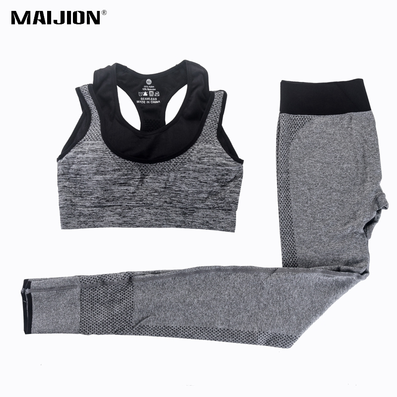 MAIJION 2Pcs Women Yoga Sets Fitness Sport Bra+Yoga Pants Leggings Set , Gym Running Sport Suit Set Workout Clothes for Female women yoga pants sets fitness yoga leggings elastic tights sport running gym bra breathable pants t shirt 3pcs setleri clothes