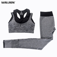 VEAMORS 2Pcs Women Yoga Sets Fitness Sport Bra Yoga Pants Leggings Set Gym Running Sport Suit