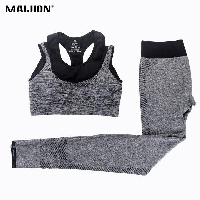 Maijion 2 шт. Для женщин Костюм для занятия йогой Фитнес спортивный бюстгальтер + Кальсоны йоги Леггинсы для женщин комплект тренажерный зал Бег спортивный костюм комплект тренировки одежда для женщин