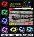 Free Shipping 10 pcs SMD 5050 60 LED / M RGB Strip 5M 300 LED DC12V IP65 Waterproof SMD flash light LED Strip LED Light tape