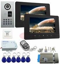 Video Intercom 2 Monitors Home New 7inch CCD Color Video Intercom With Electric Lock Home Video Intercom IP65 Waterproof Kit