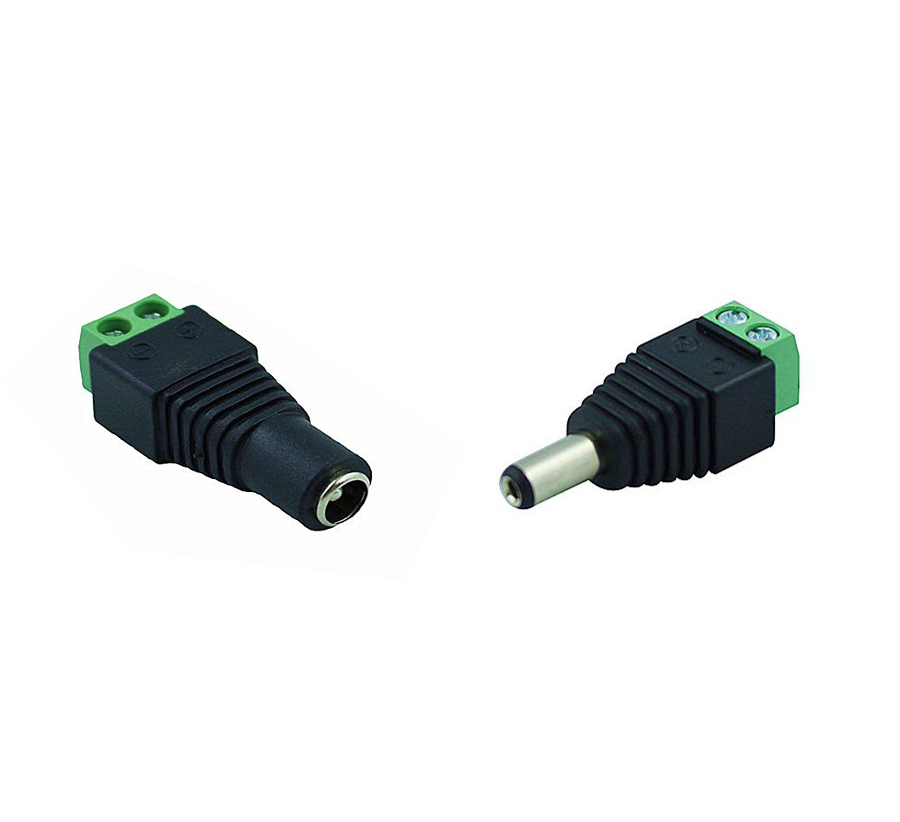 AHWVSE 1 Pair 2.1 X 5.5 DC Power Male / 2.5X5.5 Female DC Power Plug Jack Adapter Connector Plug For CCTV Camera LED Strip Light
