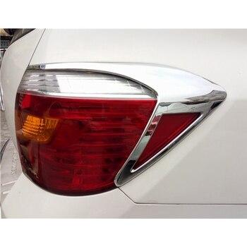 Dla Toyota Highlander 2012 2013 ABS Chrome tylne tylne światło lampy pokrywa wykończenia tylne światło naklejki Car Styling akcesoria samochodowe 2 sztuk