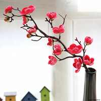 Ciruela Cerezo flores artificiales de seda flores Sakura árbol ramas Mesa hogar Decoración para habitación bricolaje decoración de boda