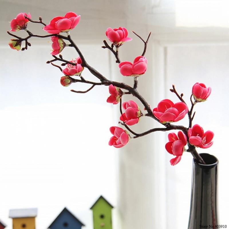 Слива Цветет вишня искусственные шелковые цветы Флорес Сакура Отрасли Home столик для декор комнаты своими руками Свадебные украшения