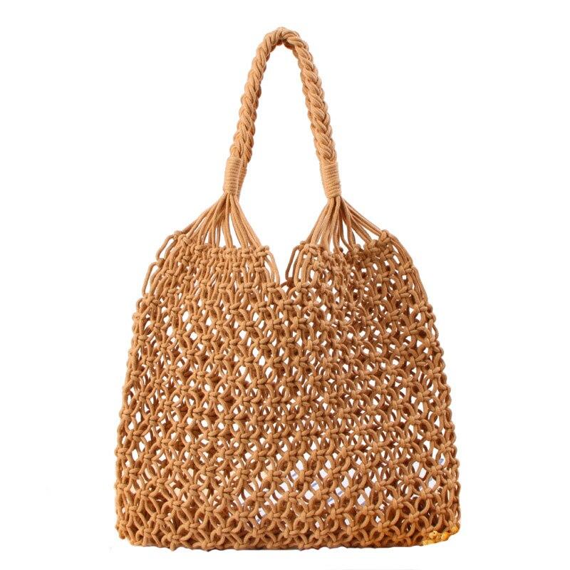 a197adf3e4b1 US $22.5 |Boho style Straw Cotton rope beach bag summer crossbody bags for  women 2018 handmade braid shoulder messenger shopping bag Bali-in ...