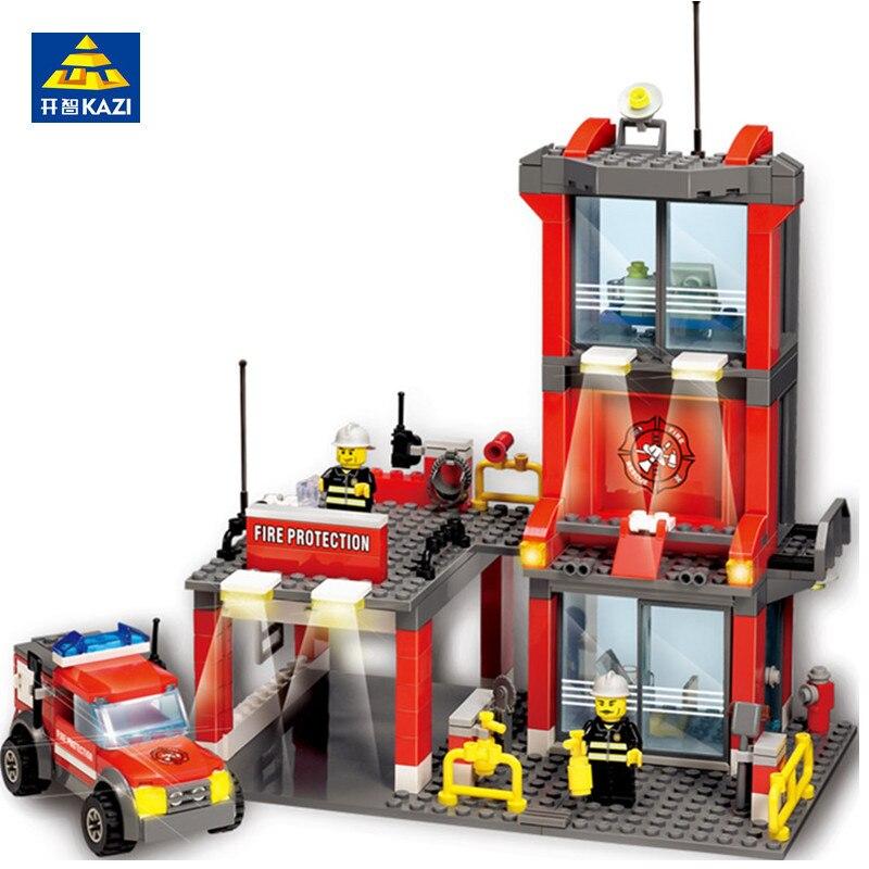 300 piezas de bomberos de la ciudad de La Estación de juegos de bloques de construcción LegoINGs bombero camión modelo ladrillos Playmobil juguetes educativos para los niños