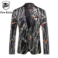 Fire Kirin Men Blazer Pattern 2017 Latest Coat Design Fashion Print Blazer For Men Luxury Brand Stage Clothes For Singers Q210