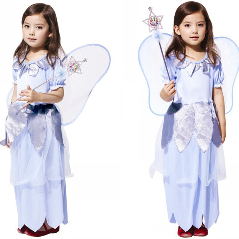 2018 new children's girl Halloween stage performance dress dress cute princess cosplay costume flower fairy elf winged dress