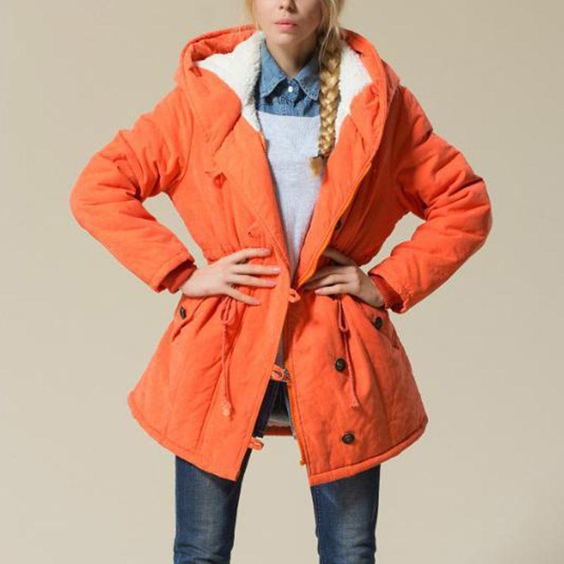 ФОТО Trendy Women Pullover Slim Hoodie Drawstring Cotton Jacket Thicken Warmer Coat Winter Tops Parka Overcoat