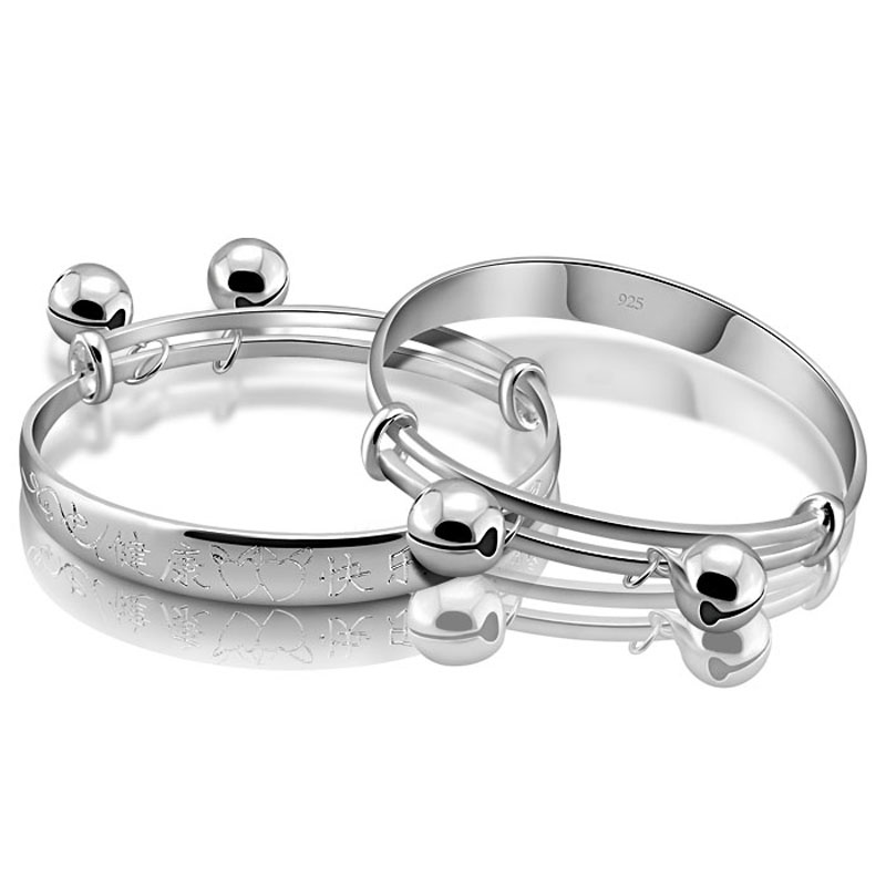 Sterling silver jewelry children style restoring ancient ways.Contracted solid 925 silver bracelet baby.Lovely baby bell bracele