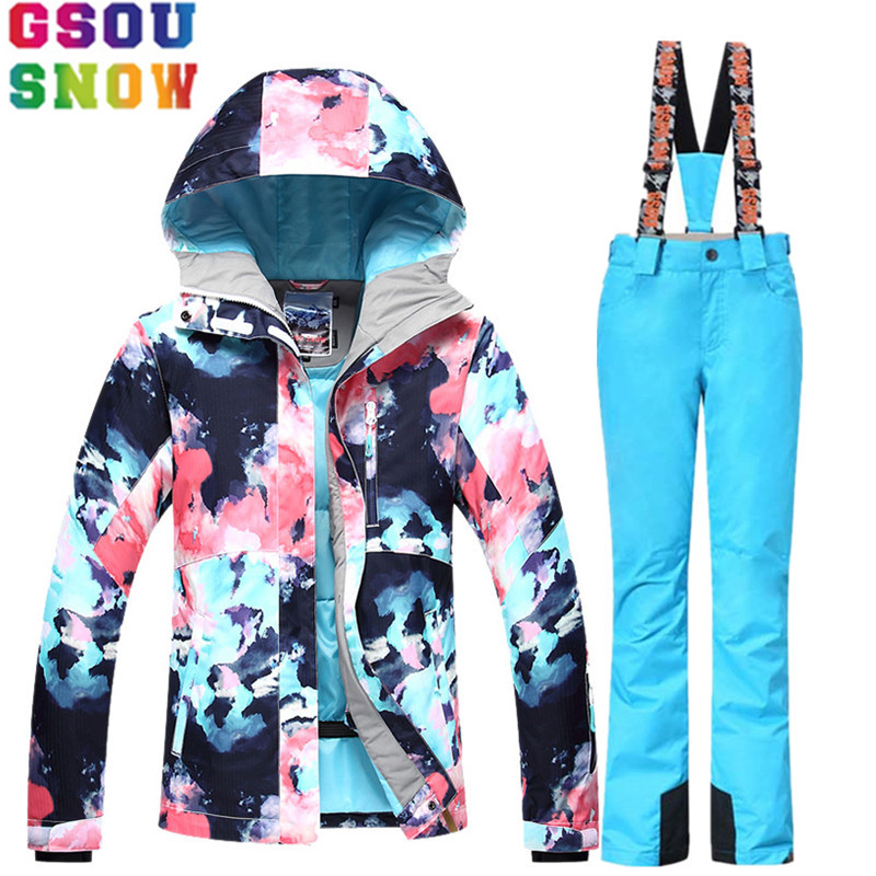 GSOU SNOW Ski Suit Women Skiing Jacket Snowboard Pants Winter Waterproof Outdoor Cheap Ski Suit Ladies Sport Clothing Coat