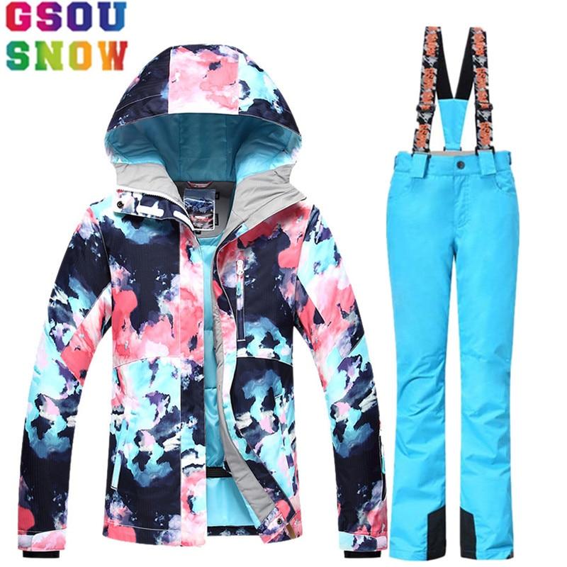 GSOU SNOW traje de esquí traje de las mujeres chaqueta de esquí Snowboard Pantalones de invierno impermeable al aire libre barato traje de esquí traje de Damas ropa de deporte abrigo