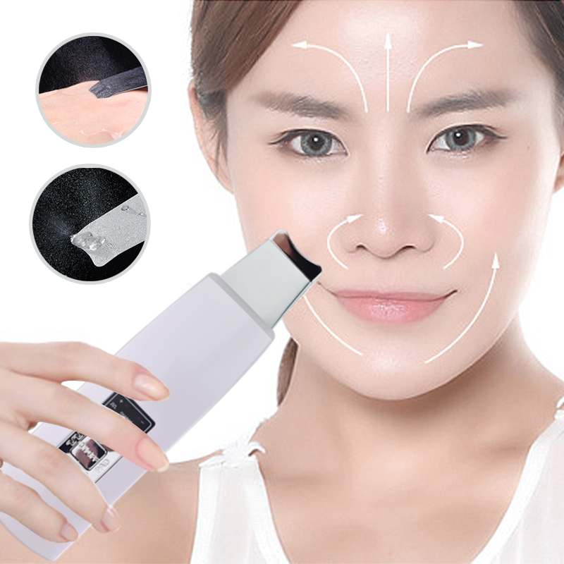 Ultrasonic Skin Face Ionic Scrubber Exfoliation Dermabrasion Facial Massager Blackhead Acne Pores Dirt Cleaning Beauty Device free shipping dead skin removal ultrasonic skin pores cleaner sonic scrubber face cleaning with ems lifting beauty massager