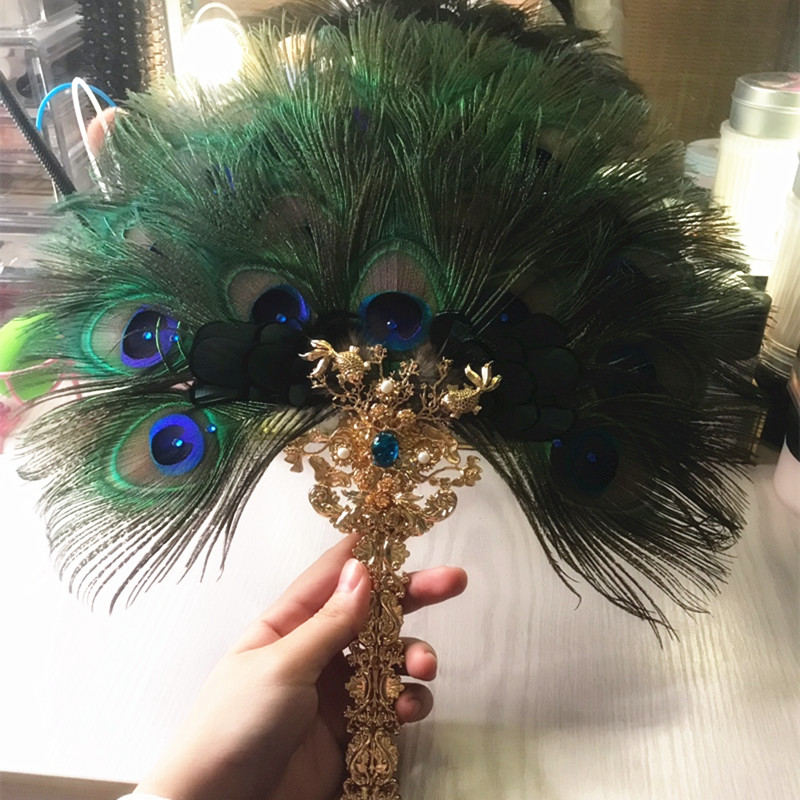 Fantastic Unique Peacock Hair Feather Fan Handmade Chinese Costume Drama Beautiful Dance Decoration Performance Crafts Fan