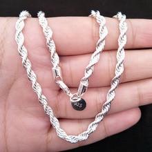 925 пробы Серебряное ожерелье, крученая Серебряная цепочка, Женское Ожерелье, мужские ювелирные аксессуары, 4 мм, 16-24 дюйма