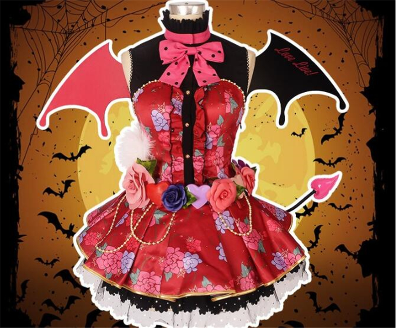 LoveLive Little cosplay Kousaka Honoka Devil Awakening cosplay costume Halloween suit Free Shipping customize dress + wings halloween cosplay suit