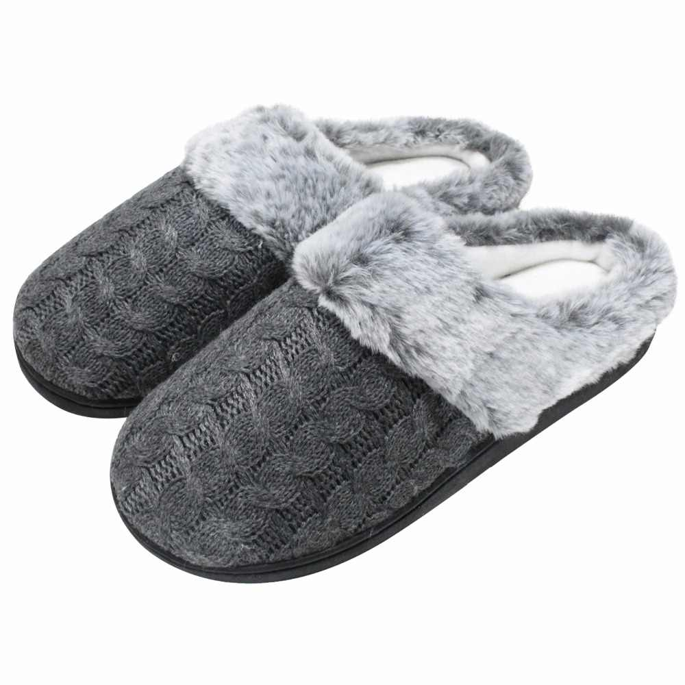 e044b0606 Women's Fur Memory Foam House Slippers Cable Knit Cozy Warm with Rubber  Sole Indoor Outdoor