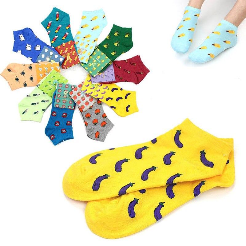 Fruta lindo estampado corta de dibujos animados Calcetines de las mujeres, arte de impresión de algodón fino verano calcetines Kawaii Verano Divertido calcetines de tobillo bajo medias