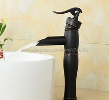 Black Oil Rubbed Bronze Bathroom Faucet Waterfall Faucet Basin Mixer Tap Basin Faucet Bathroom Basin Sink Faucet Khg013 modern waterfall spout oil rubbed bronze bathroom sink faucet mixer tap square handles basin faucet