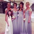 Modest Bridesmaid Dress 2016 Long Chiffon Beading Sequins Short Cap Sleeves Floor Length Sweetheart Lavender Bridesmaid Dresses
