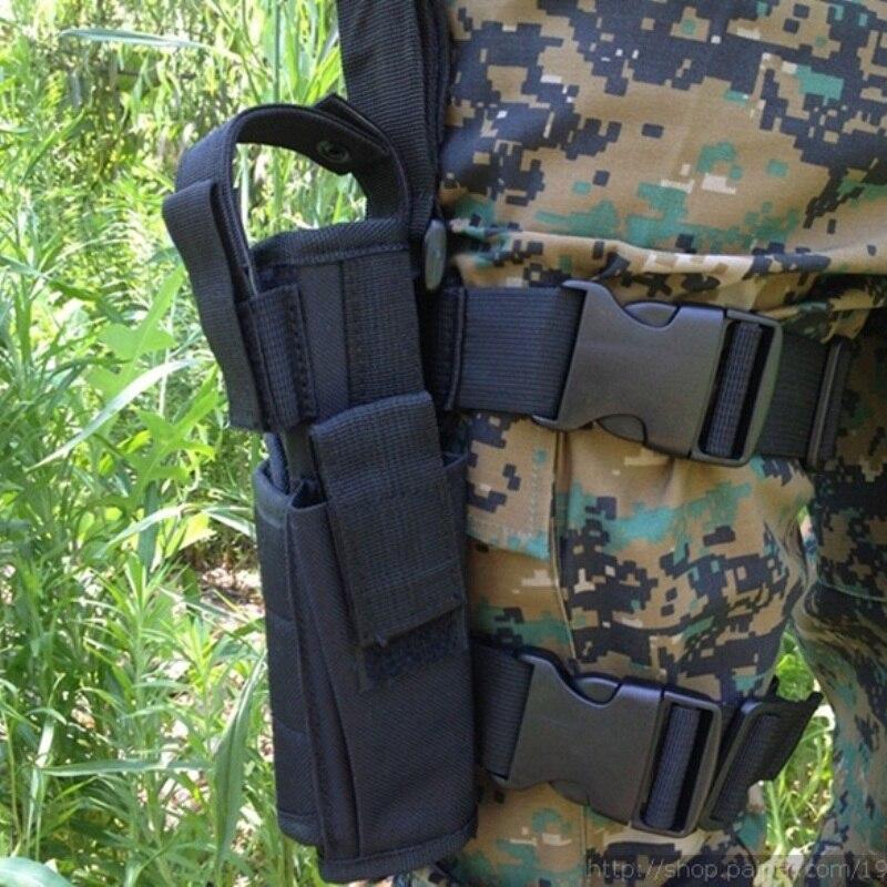 Adjustabl pistola táctica pierna muslo Holster w/Mag bolsa mano derecha táctico al aire libre ajustable con correa mágica