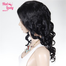 Halo Lady Beauty 130% Density U part Lace Wigs European Human Loose Wave Hair Wig Middle Part Natural Black 1B Non Remy Hair