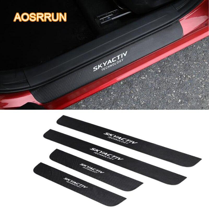 Cuero de la PU de fibra de carbono coche-estilo de puerta alféizar marca de accesorios de coche para Mazda CX5 CX-5 2017, 2018